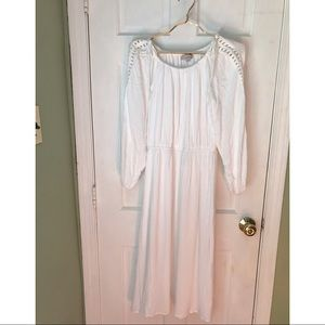 Loft white dress with sewed open sleeves
